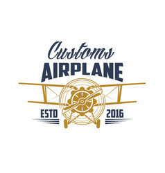 customs airplane aviation retro icon vector image