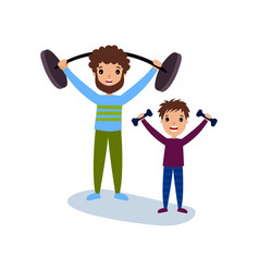 Dad and son exercising with dumbbells sport vector