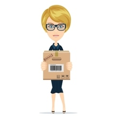 Delivery woman isolated on the white background vector image