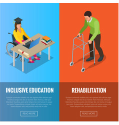 Disabled people banners with wheelchair and vector
