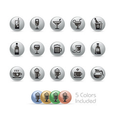 drinks icons - metal round series vector image