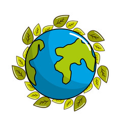 earth planet with natural leaves vector image