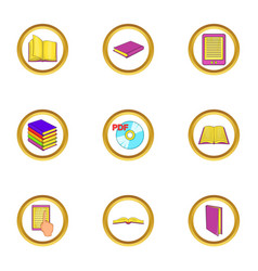 ebook icons set cartoon style vector image