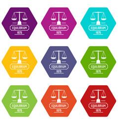 Equilibrium icons set 9 vector