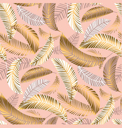 Exotic seamless pattern with palm leaves vector