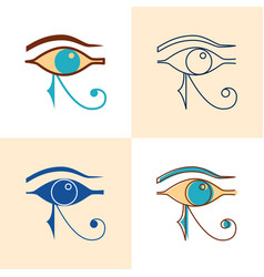 eye horus icon set in flat and line style vector image