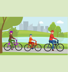family riding on bicycle in park flat poster vector image