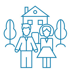 family wellbeing linear icon concept family vector image