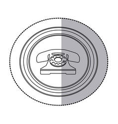 figure emblem sticker color telephone icon vector image