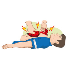 First aid resuscitation cpr using defibrillator vector