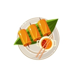 Fish Rolls and Soup on a Plam Served Food vector