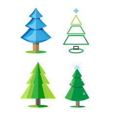 Four varieties of christmas trees isolated the vector