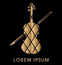 golden violin graphic vector image
