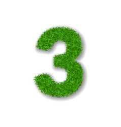 Grass number three green 3d number three isolated vector