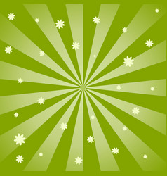 Green spiral design background with flowers vector