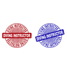 Grunge diving instructor scratched round vector