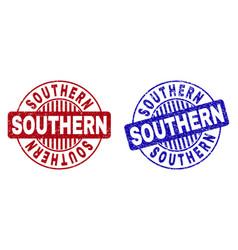 Grunge southern textured round stamp seals vector