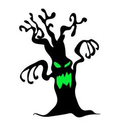 Halloween creepy scary bare tree monster symbol vector