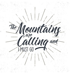 Hand drawn adventure typography sign mountains vector
