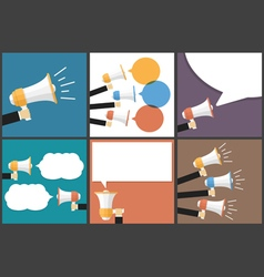 Hand with Megaphone Flat Images Set vector