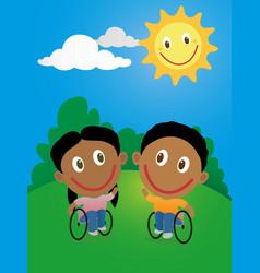 Happy children in wheelchair vector