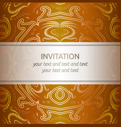 Invitation card in orange and gold with ornaments vector