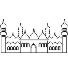 Islamic building icon black and white vector
