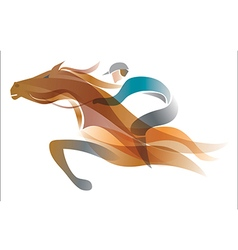 Jockey on the horse vector
