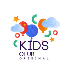 Kids club logo original creative label template vector