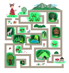 labyrinth with girl that should find vector image