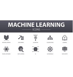 Machine learning simple concept icons set vector