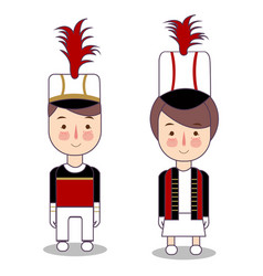 Majorette man and girl in marching band vector