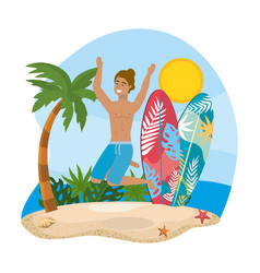 man wearing bathing shorts with surfboards and vector image
