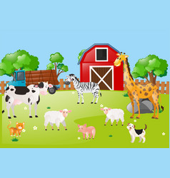 Many animals in farmyard vector