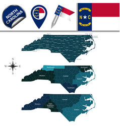 Map of north carolina with regions vector