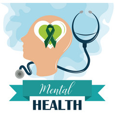 Mental health day human profile stethoscope vector