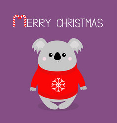 merry christmas candy cane koala in red ugly vector image