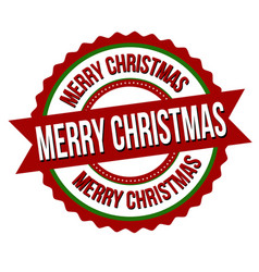 merry christmas label or sticker vector image