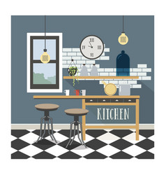 modern kitchen interior in loft style vector image