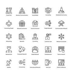network and communication outline icons vector image