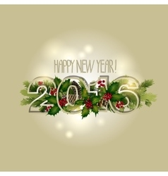 New Year card with coniferous design vector