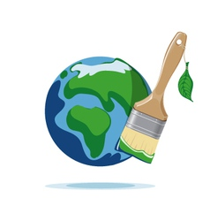 Paint brush and planet Earth vector image