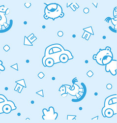 pattern toys blue vector image