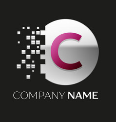 Pink letter c logo symbol in silver pixel circle vector