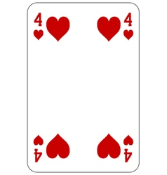 Poker playing card 4 heart vector image