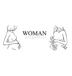 Pregnant woman stylized outline female vector