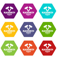 premium blacksmith icons set 9 vector image
