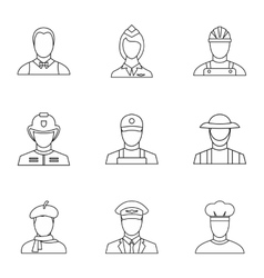Profession icons set outline style vector