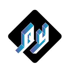 Q and y - monogram or logotype three-dimension vector