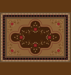 Rug with floral ornament in brown and yellow shad vector